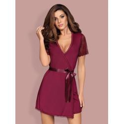 Košilka Obsessive Miamor robe a thong ruby