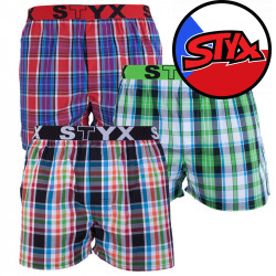 3PACK pánské trenky Styx sportovní guma vícebarevné (B7111819)