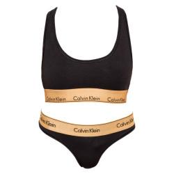 Dámský set tanga a podprsenka Calvin Klein černý (QF5668E-BXY)